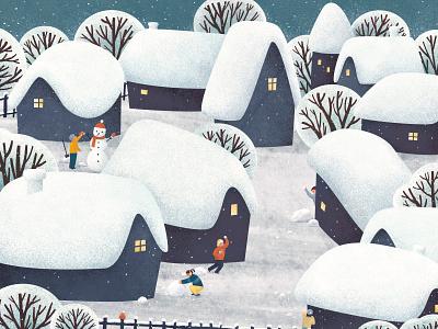 snow day illustration snowy childrens illustration snow day snow kidlitart kidlit childrens book digital illustration illustration