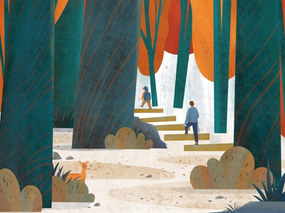 Go Hiking illustration art kidslitart gohiking hiking forest childrens illustration digital illustration illustration