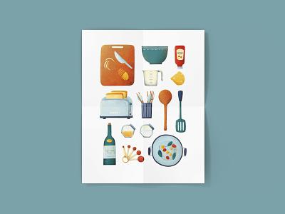 Kitchen Illustration kitchen supply cooking kitchen art digitalart flat illustration digital illustration illustration