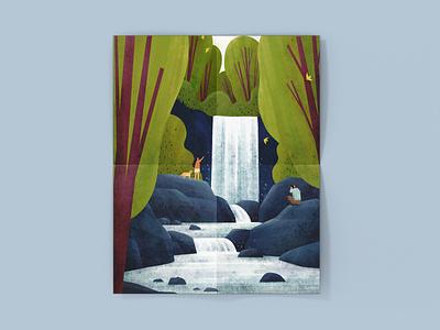 Waterfall Illustration waterfall photoshop landscape digitalart illustration digital illustration