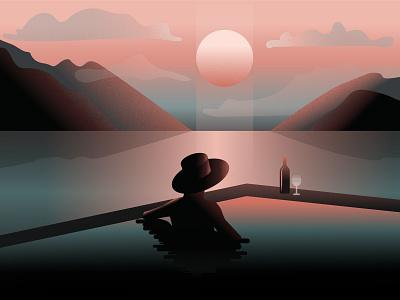 Summer Sunset sunshine vacation chill woman girl sun evening sunset illustration sunset lake mountains landscape flat illustration environment illustration 2d
