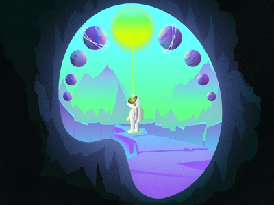Creativity. Let it Glow! playoff scenery art palette creative design spaceman astronaut flat illustration 2d mountains landscape environment universe space cosmos cave palette shine glowing glow creativity