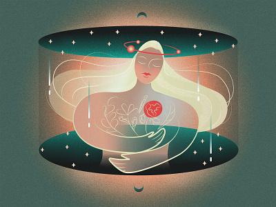 Selfcare space selfcare spring character design 2d illustration love bloom woman illustration girl character character flat illustration