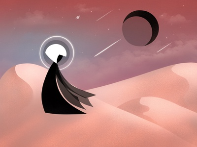 Desert Soul desert illustration soul ipadproart apple pencil procreate black moon moon desert landscape illustration 2d illustration environment 2d flat illustration