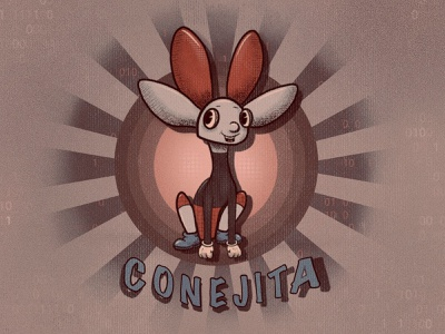 CONEJITA vintage art creative design playoff apple pencil procreate cartoon character cartoon retro logo retro vintage toon vintage 1930s typography character conejita nvidia flat illustration 2d illustration 2d illustration
