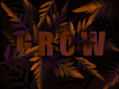 Grow glitter leaves plants grow logo design lettering 2d design logo flat illustration apple pencil procreate 2d illustration