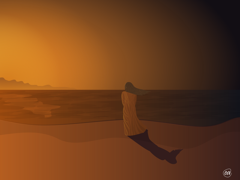 Beach girl beach ocean design vector illustration