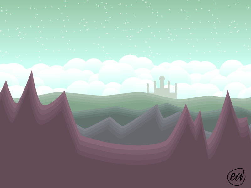 The Distance journey distance clouds castle mountain vector illustration design