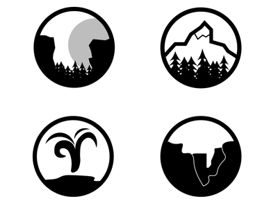 Assets for Concept App icon ui minimal design badge design simplistic national parks vector illustrator ui design app ui app icons