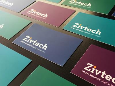 Light Rebrand of Zivtech color palette branding business cards
