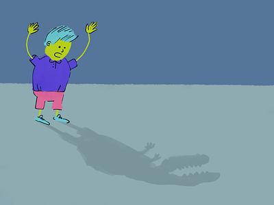 Dinosaur shadow roar children illustration kid dinosaur shadow