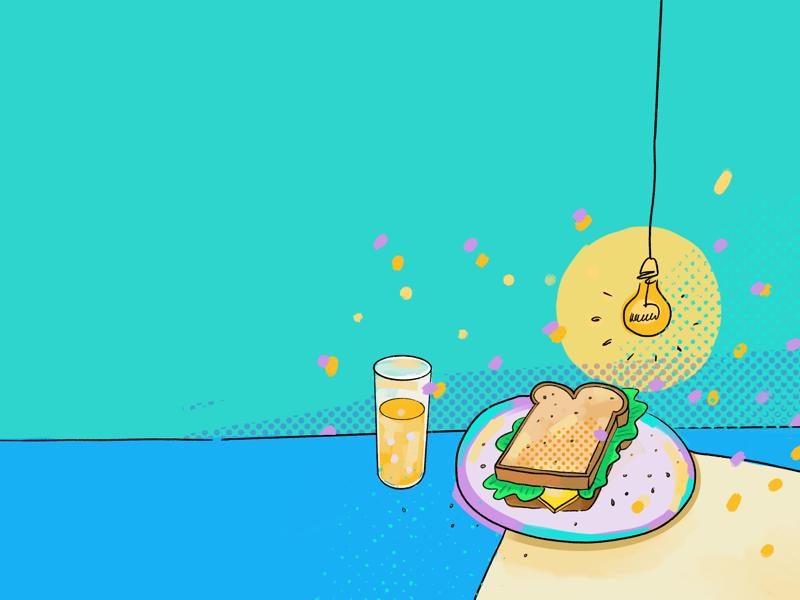 Sandwich oj drink orange juice cheddar gouda lunch at desk desk lamp light sandwich lunch bread cheese lettuce