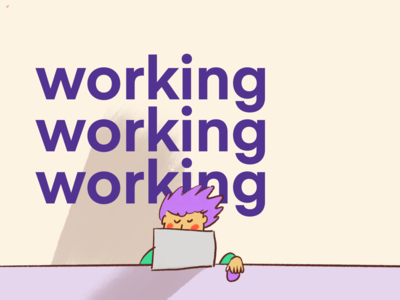Working working illustration type macbook working