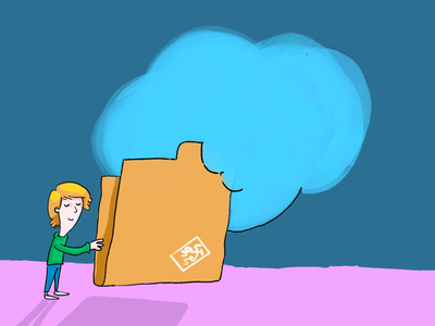 Big folder drawing illustration content folder icon boy cloud storage cloud folder