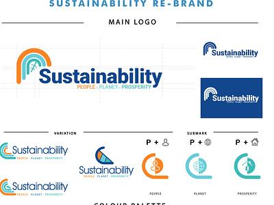 Sustainability branding icon typography vector branding logo