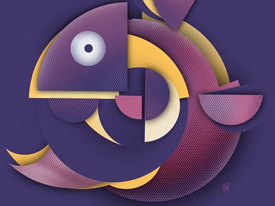 Fish twist graphics illustration art geometric vector design