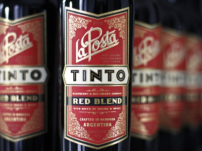 Finished Tinto wine label packaging bottle gold foil thermography