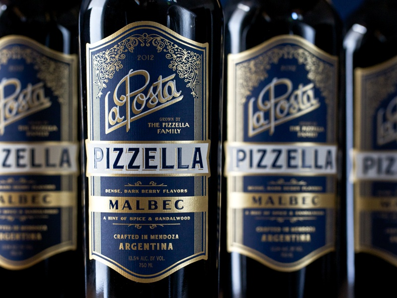 Pizzella wine label gold foil emboss thermography foil stamp