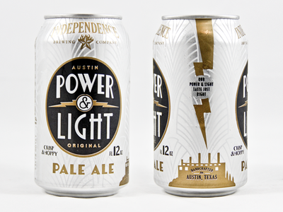 Power and Light can beer art deco independence cans