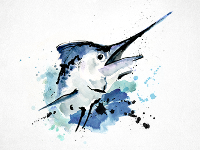 Marlin 2 watercolor marlin fish painting illustration