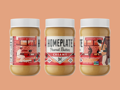 Homeplate Peanut Butter Creamy packagedesign rebrand illustration peanut butter homeplate