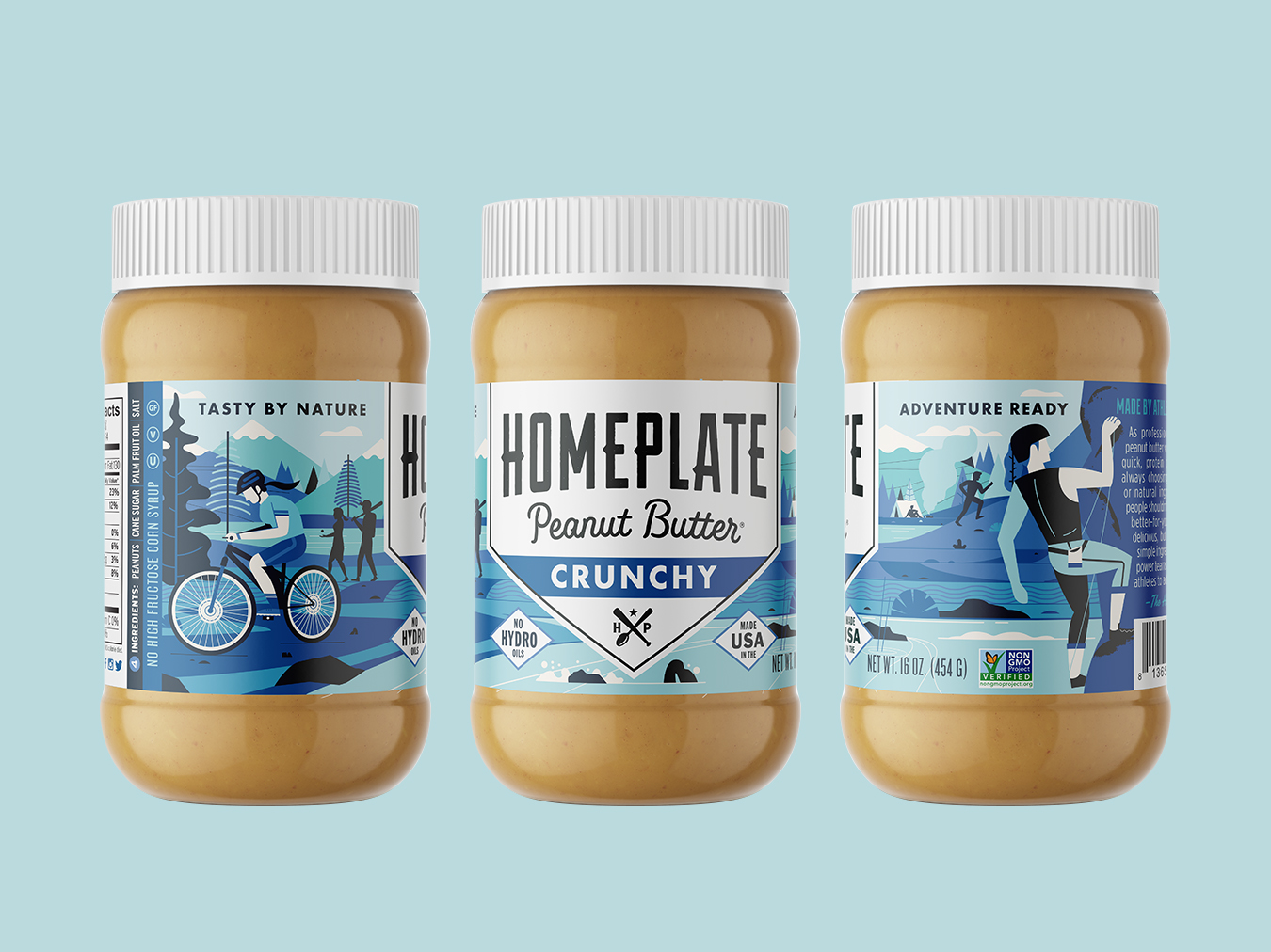 Homeplate Crunchy logo redesign outdoors homeplate rebrand package design illustration peanut butter