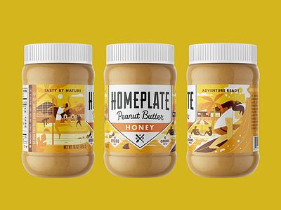 Homeplate Peanut Butter Honey homeplate illustration branding redesign package design peanut butter