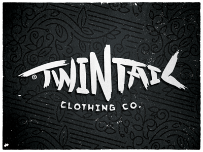 Twintail Clothing Co type fish pattern hand drawn clothing apparel logo bonefish