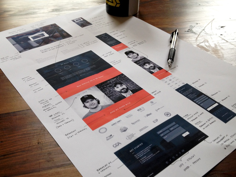 Crunch time style guide style guide hand written responsive web interface process production wip