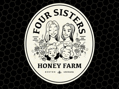 Four Sisters honey hand drawn illustration jar label