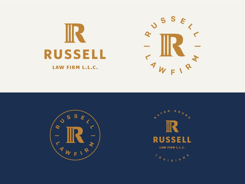 Russell Law attorney law mark icon identity logo branding