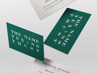 The Name Texans Trust stationery identity design green texas business cards