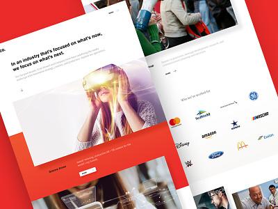 SH&C website red web design agency video ar vr