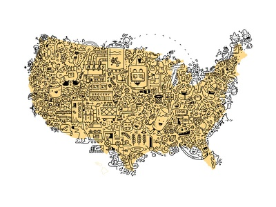 Brewing in the U.S.A. brewery doodle cartoon map illustration usa america beer