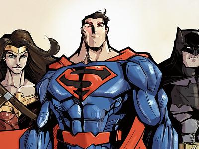 Justice League (FULL SIZE ATTACHED) procreate illustration wonder woman batman superman dc comic book ipad pro