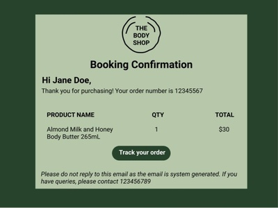 Email Receipt #DailyUI #017 email receipt dark ui thebodyshop dailyui ux ui design