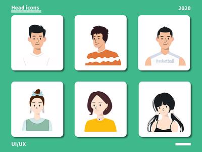Head icons(头像图标) illustration design head icon ui