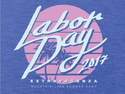 Labor Day Extravaganza 2017 pink beach palm trees miami 80s type