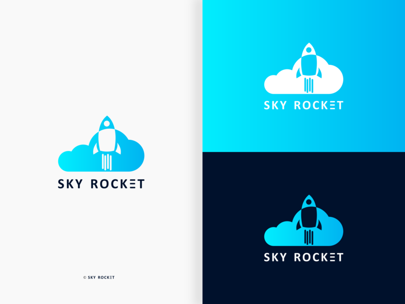 Sky Rocket sky blue space gradient sky illustration typography branding negative space logo pictorial mark brandmark design vector logo minimalistic