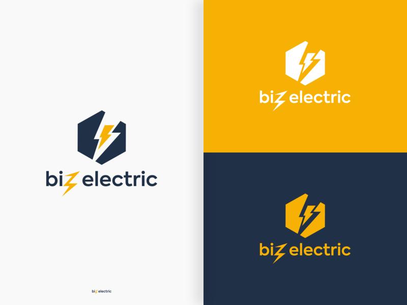 Biz Electric color combinations hexagon logo typography company electricity branding negative space logo design vector pictorial mark logo minimalistic brandmark