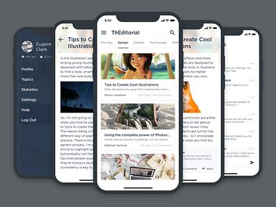 ThEditorial - Concept App app uiux design visual design sketch concept ui