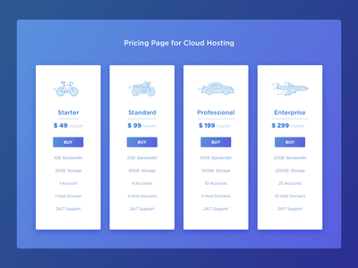 Cloud Hosting - Pricing Page price range pricing table pricing plans pricing page pricing typography vector dribbble ux illustration design web design visual design uiux sketch ui