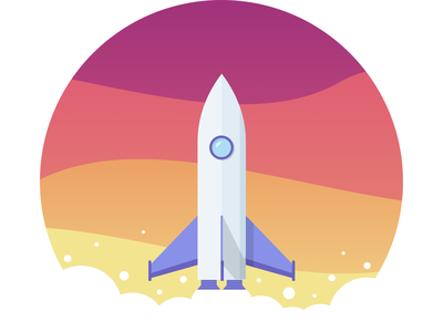 Rocket To Moon vector illustration dribbble visual design sketch ui
