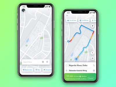 Google Map ReDeisgn Challenge earth world india geography transport destination iphone navigation ui concept sketch travel maps google mobile app