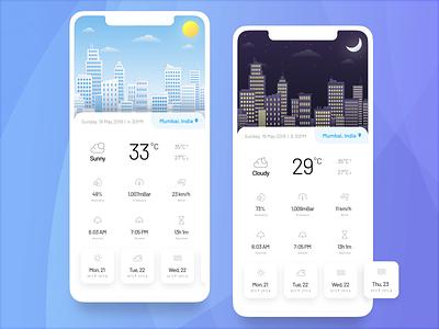 Minimal Weather App Concept weather uplabs ui temperature sketch night mumbai iphone 8 plus iphone ios india illustration day concept climate city challenge app