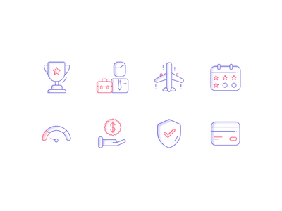 Icons for Credit Card Website line glyph illustration two tone dual tone iconography icons icon