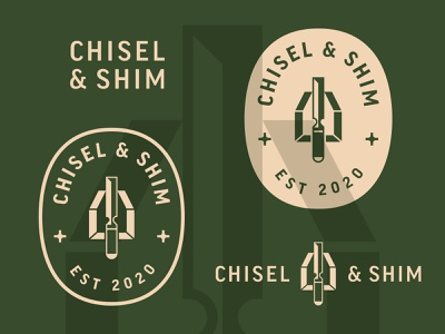 Chisel & Shim branding brand shim chisel carpenter builder craftsman construction typogaphy logo design badge logo
