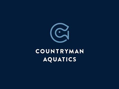 Countryman Aquatics ocean sea logos letter monogram negativespace water aquatic fish branding brand mark icon logo