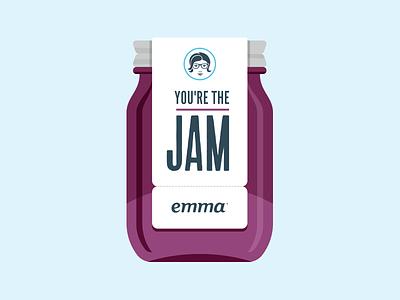 You're the Jam card jam jelly jar sticker print emma kevin burr ocular ink nashville