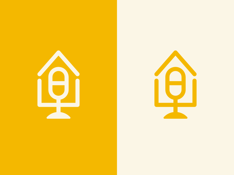 Mic + House microphone icon logo residence talk home house speaker mic